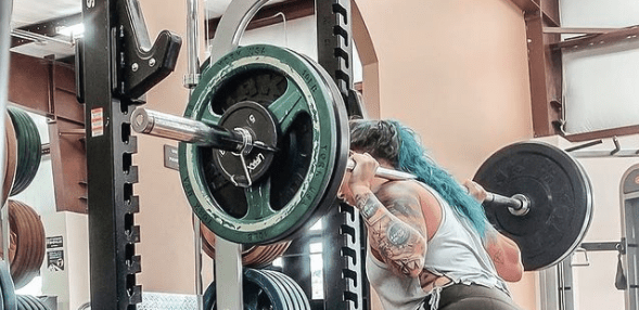 Megan Squatting With Weight