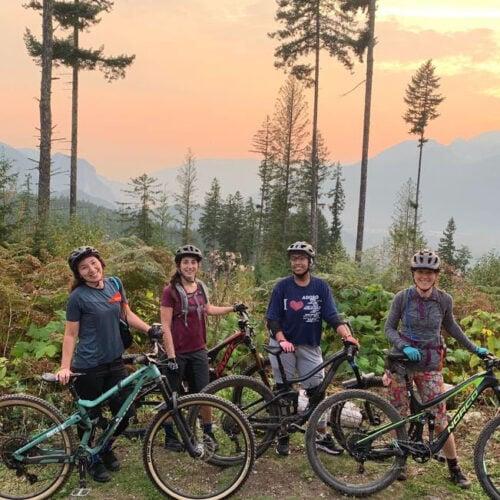 Team biking in Squamish